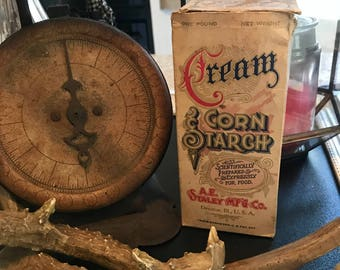 Vintage Cream Corn Starch Box, Rustic Kitchen