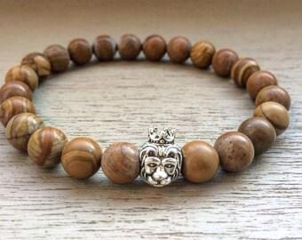 Mens lion bracelet - Lion head bracelet - Mens beaded bracelet - Leo bracelet - Womens bracelet - Holiday gift for him - Beaded bracelet