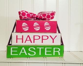 Happy Easter MINI wood stacker blocks--colored eggs, Easter Blocks