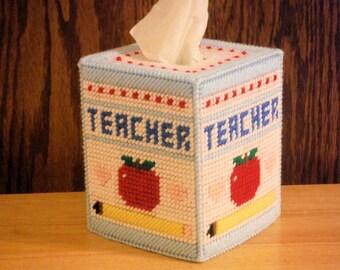 Teacher Tissue Box Cover, plastic canvas, needlepoint item, Teacher Decor, classroom decor, decorations, educational gifts, Teacher Gifts