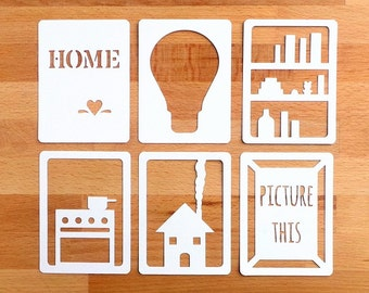 "Home 3x4"" Die Cut Cards, Home Life Pocket Scrapbooking, Filler Cards, Journaling Cards, Scrapbooking Embellishments, Everday Die Cuts"