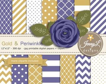 Gold Periwinkle Digital Paper, Lavender Blue Rose Flower Clipart for Wedding, Bridal Baby Shower, Birthday, Digital Scrapbooking, Planners