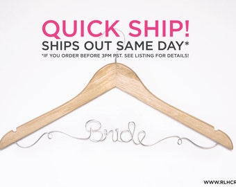 QUICK SHIP / Ships Next Day / Bride Hanger / Wedding Hanger / Personalized Bridal Hanger / Wire Name hanger / Wire Hanger / Name Hanger