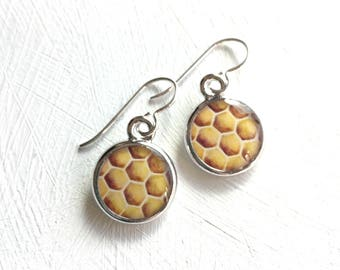 Honey Bee Earrings, Honey comb, Honey comb silver earrings, Bee art