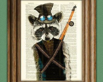 Crackshot the Steampunk Raccoon illustration beautifully upcycled dictionary page book art print