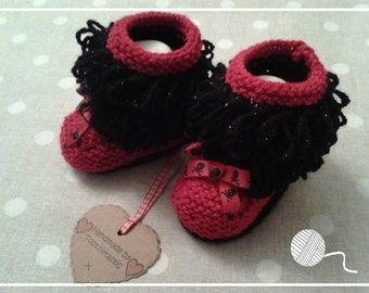 1 Pair 'Loopy' Red and Black Sparkly Hand Knitted Baby Booties - Girl - 3-6 months size - Made by Tootsietastic - READY TO SHIP