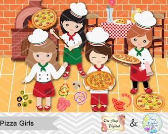 Digital Pizza Party Clip Art, Pizza Girl Clipart, Little Chef Clip art, Little Girl Pizza Party Clipart, Girls Pizza Party Clipart, 00172