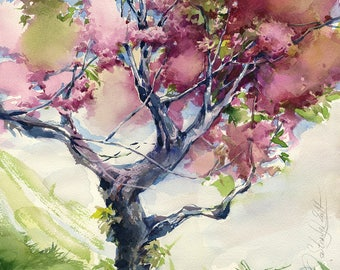 Sakura painting watercolor - cherry blossoms art print - cherry blossom tree flower painting