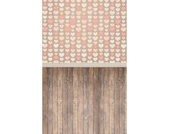 Heart Strings and Wood - Vinyl Photography  Backdrop Photo Prop