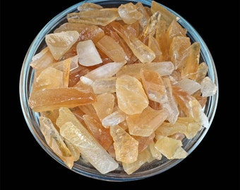 1/4 lb HONEY Gold CALCITE Small Rough Stone (Approx 50 pieces) Crystal Rough Mineral Specimen for Crafting, Healing Crystal and Stone #HC01