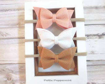 Pink White Brown Baby headband, baby head band bow, baby headband nylon, newborn headband, infant, toddler headband. baby hair bow set