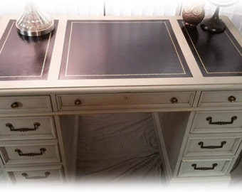 Updated Vintage Leather Top Desk- Similar Available for Order