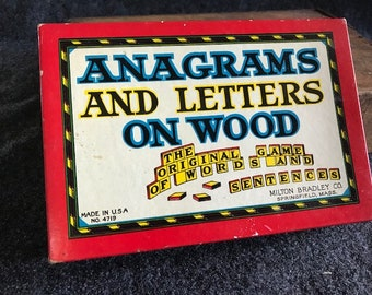 Vintage Milton Bradley Anagrams and Letters on Wood