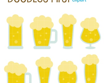 Beer Glasses Digital Clip Art for Scrapbooking Card Making Cupcake Toppers Paper Crafts