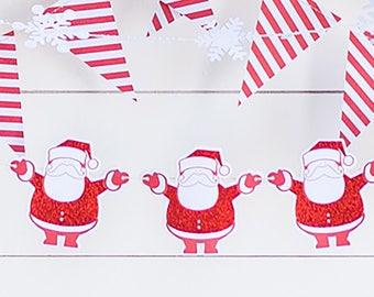Santa Claus Garland   Christmas Decor Retro Santa Claus Christmas Decoration Vintage Santa Christmas Garland Santa Bunting Christmas Mantel