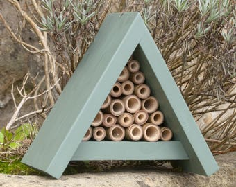 Bee Hotel - Handcrafted Solitary Bee House - Bee Hotel - Gift for Gardeners - Green - Gardner Gift - Bee House - Birthday Garden Gift