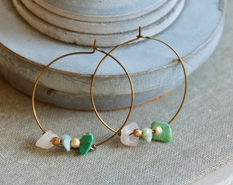 Gemstone hoop earrings,large hoop earrings,beaded hoop earrings,boho earrings,bohemian earrings,festival earrings,stone earrings