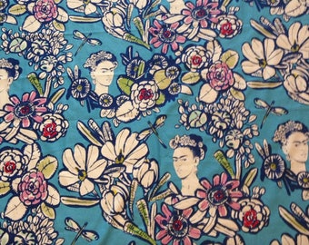 Cactus Flower Blue Background Frida Kahlo 100% Cotton Fabric, by Alexander Henry Fabric