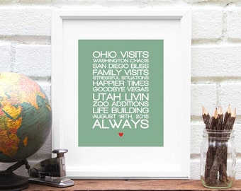 Tell Your Story, Family History, Favorite Quotes, Song Lyrics, Vows, Gift for Him, Gift for Her, Gift for Best Friend - 8x10 Art Print