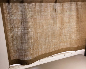 "Burlap Cafe Curtain with Free Jute Tieback, 40/54"" Wide X 24""/30""/36"" Long, 'The SAND DUNE CAFE Curtain' by Jackie Dix"