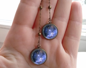 Galaxy earrings, galaxy jewelry, Violet galaxy, violet earrings, nebula earrings, nebula jewelry, cosmic earrings, interstellar earrings