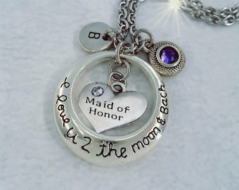 Maid of Honor I Love U 2 The Moon and Back with Letter Charm and Swarovski Birthstone Crystal, Maid of Honor Gift, Weddings, Made w-Love