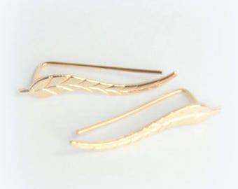 Earrings Feather leaf Rose