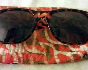 African Batik Fabric Eyeglass Case, Sunglass Case, Eyewear Case