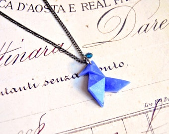 Polymer clay origami pendant necklace - geometric necklace, origami necklace, polymer clay necklace