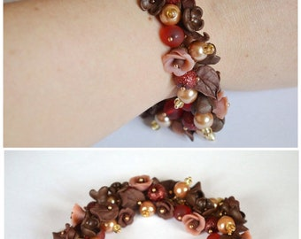 Flower bracelet Gift idea for her Brown bracelet Gift for women Nature jewelry Unique gift Flowers roses Jewelry gift Brown jewelry nature