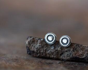 6mm Target Bullseye Studs, Tiny Sterling Silver Stud Earrings, black bull's eye target earrings, contemporary metalwork studs for man, woman