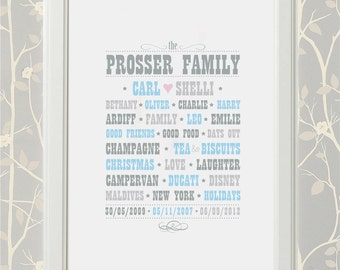 Family Type - TYPOGRAPHY PERSONALISED - PRINT
