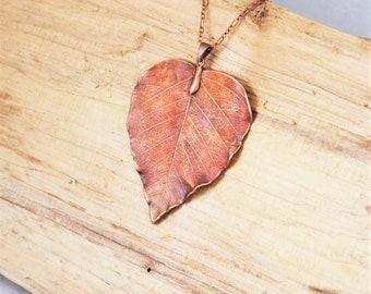 Electroformed Heart Shaped Leaf Copper Necklace R7