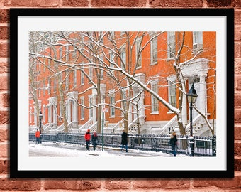 New York Photography, New York Print, New York City Photo, New York Gift, Winter, Snow, Snowstorm, Greenwich Village, Wall Art, Office Decor