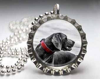 Black Lab Retriever Dog Bottlecap Pendant Necklace Jewelry - Free Ball Chain