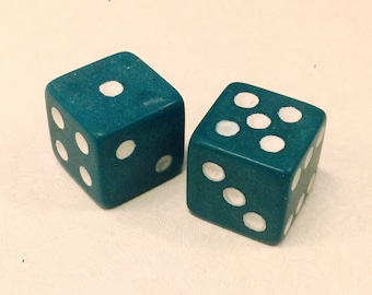 Vintage Pair Green Dice from Old Store