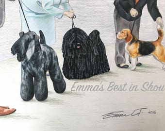Best In Show - Fine Art Giclee Print by Emma Laurel Tinklenberg of Emmasbestinshow - Dog Art - Colored Pencil