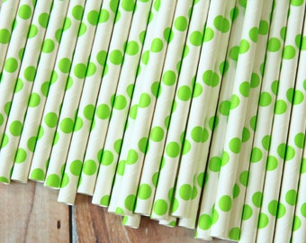 LIME Green Big Dots paper straws