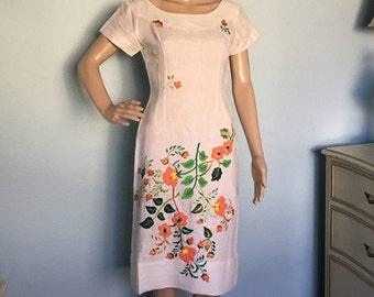 1960s Spring Floral Wiggle Dress