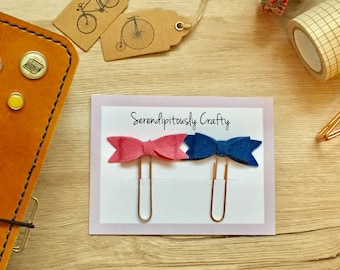 2 Bow Felt Paper Clips | Bows | Feltie | Planner Clip | Organizer | Bookmark