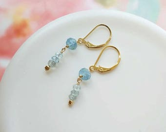 Aquamarine Drop Earrings, Gold Aquamarine Dangle Earrings, Dainty Aquamarine Jewelry, March Birthstone Birthday Gift for Her Unique Artisan