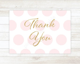 pink and gold glitter baby shower thank you cards gold glitter polka dots baby shower thank you cards / INSTANT DOWNLOAD