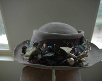 """Art-to-Wear Up-Cycled Vintage Hat - """"Taupe Treat"""" - SALE"""