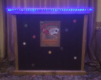 solid pine Man Cave Poker bar battery operated mood lighting casino themed made to order