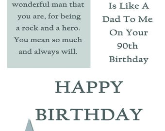 Like a Dad 90 Birthday Card with removable laminate