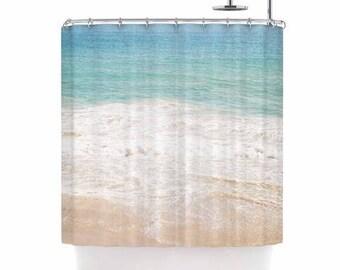 Beach shower curtain, ocean shower curtain, aqua shower curtain, beach bath decor, teal bath decor, crashing waves, surf shower curtain,