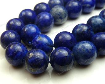 6mm Lapis Lazuli Round Natural Gemstone Beads - 30pcs - Dark Blue, Pyrite Flecks - BE34