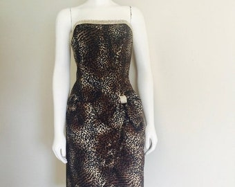 Leopard Dress / 80s Clothing / Julie Duroche / After Five Dress / Rhinestone / Bow / Cocktail Dress / Party / Studio 54