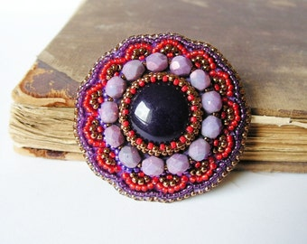 Embroidery Brooch Bead embroidered Brooch Beadwork Brooch Purple Red Brooch Ethnic Boho jewelry Purple Red Copper MADE TO ORDER