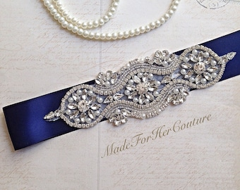 Navy Wedding Sash, Wedding Sash Belt-Pearl Crystal Sash-Rhinestone belt -Navy Bridal Belt -Bridal Sash-wedding Sash-Navy Bridal sash
